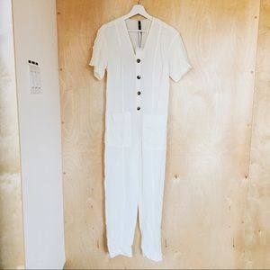 White Zara jumpsuit with pockets - Small